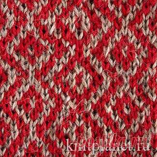 Planet of Knitting | Two-color pattern No. 11. Scheme of knitting of a pattern spokes.