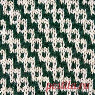 Planet of Knitting | Two-color pattern No. 7. Lazy patterns. Scheme of knitting of a pattern spokes