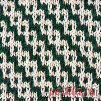 Планета Вязания | Двухцветный узор № 7. Ленивые узоры. Схема вязания узора спицами