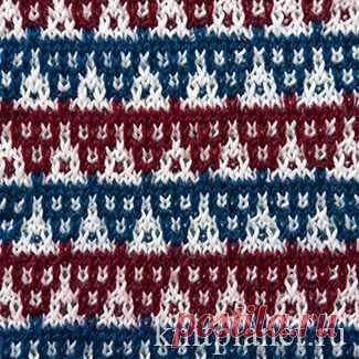 Планета Вязания | Многоцветный узор № 4. Ленивые узоры. Схема вязания узора спицами.