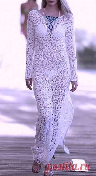 ажурное платье из квадратных мотивов крючком вязание крючком