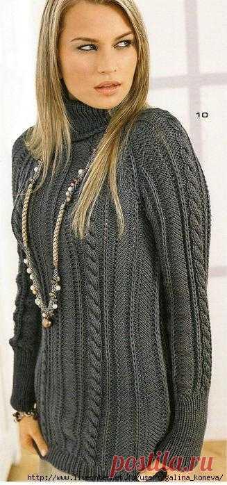 Пуловер реглан цвета антрацита.