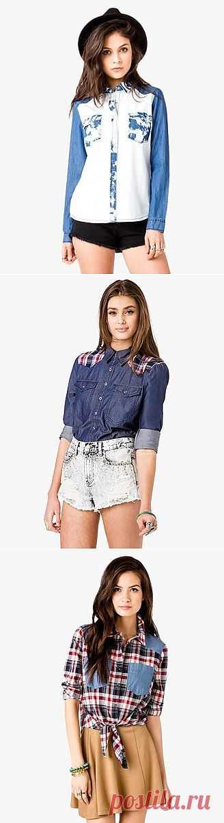 Детали из другой ткани (подборка) / Рубашки / Модный сайт о стильной переделке одежды и интерьера