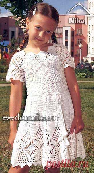 Нарядное платьице для девочки 8-10 лет. Крючок.