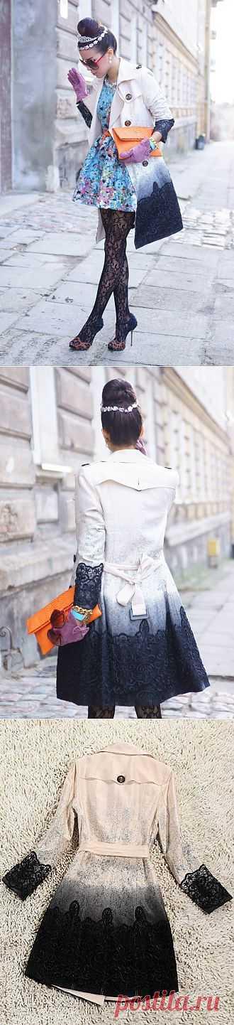Декор плаща кружевом и краской / Пальто и плащ / Модный сайт о стильной переделке одежды и интерьера