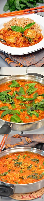 Рыбное филе с тайской пастой карри в томатном соусе. Блюдо для тех кто любит что нибудь остренькоею