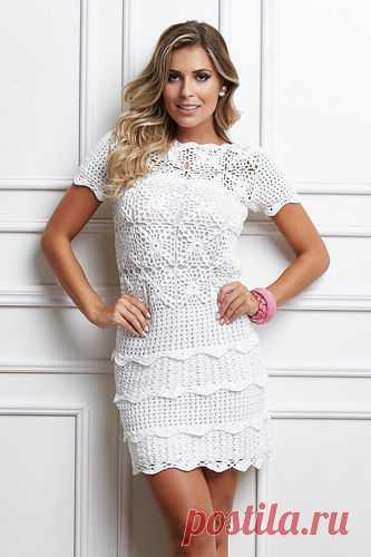 Белое платье мини с ажурными полосками - 2 Платья,сарафаны - Женская одежда - Каталог альбомов - SANA петелька