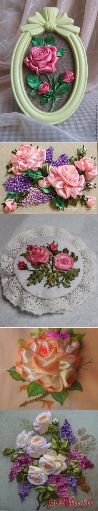 разные виды вышивки розы лентами / Вышивка / Вышивка лентами