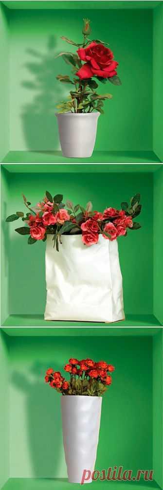 """3D-наклейки на стену """"Красные цветы в вазе""""! Интересные украшения для стен, набор из трех штук стоит 795 рублей"""