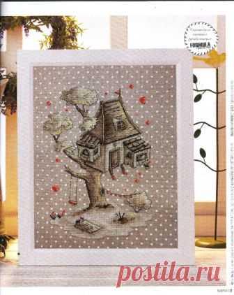 Схемы для вышивки крестом уютной картинки «Домик на дереве» — HandMade