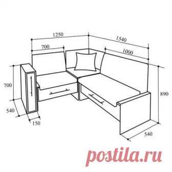 #МебельДляДачи    базовый чертеж кухонного уголка  #уголок