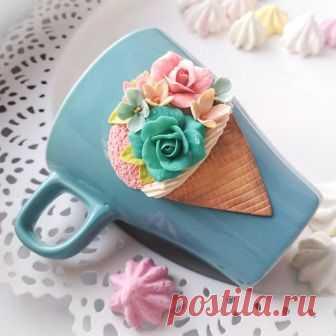 Кружка с цветами и мороженым, Продана, возможен повтор🍓