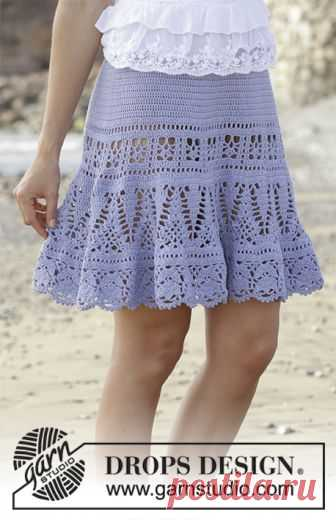 Queensland Skirt / DROPS 190-29 - Free crochet patterns by DROPS Design Skirt with lace pattern, crocheted top down. Size: S - XXXL Piece is crocheted in DROPS Safran.