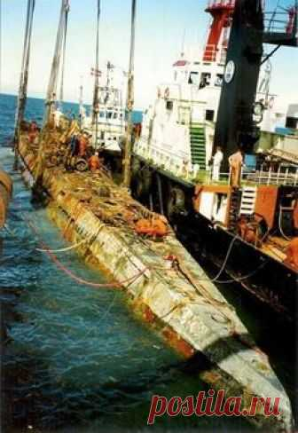 Recovered Nazi Submarine U-534 after being raised from the sea bottom