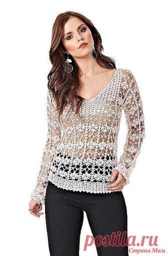 . Нежно розовый ажурный пуловер. Этот пуловер вяжется красивым ажурным узором. Под него нужно одевать топ телесного или наоборот яркого альтернативного цвета чтобы подчеркнуть красоту узора. Примечание.