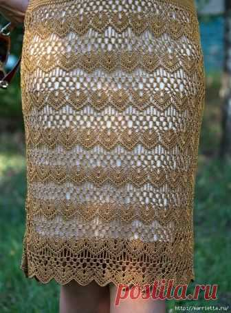 Крючком. Очень красивая ажурная юбка