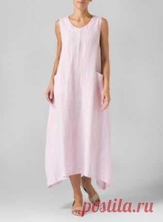 Linen Sleeveless Long Dress Soft Pink: