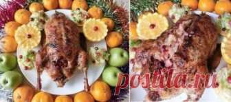 Великолепный «Рождественский» гусь с квашеной капустой и яблоками