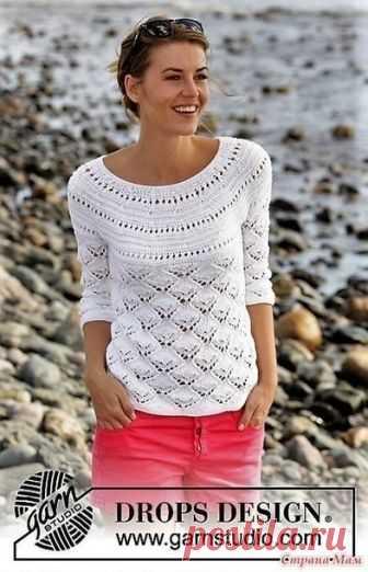пуловер спицами на круглой кокетке схем вязания вязание вяжем