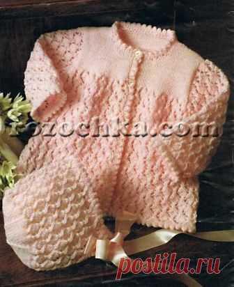 Вязание спицами для детей Кофточка и чепчик