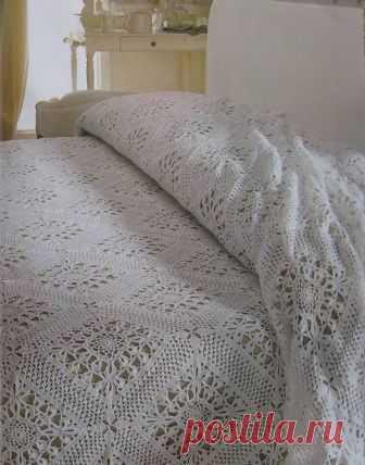 плед крючком из мотивов плед для кровати своими руками вязание