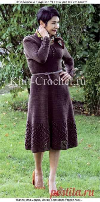 Платье крючком с расклешенной юбкой. - Платья, связанные крючком - Вязание крючком - Каталог статей - Вязание спицами и крючком