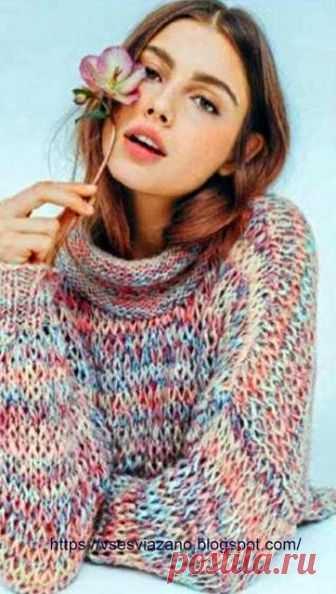 """ВСЕ СВЯЗАНО. ROSOMAHA.: Теплый свитер оверсайз """"Северное сияние"""" - очень быстро и из шерсти!!!"""