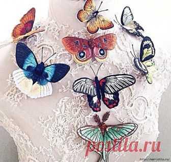 Объемные вышитые бабочки