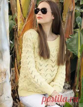 Желтый джемпер с ажурным узором - схема вязания спицами. Вяжем Джемперы на Verena.ru