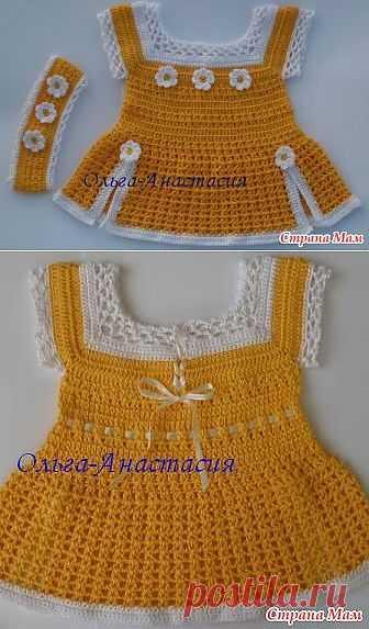 Красивенькое детское платье крючком.