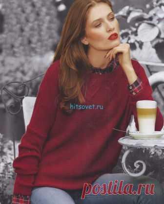 Вязание пуловера с мотивом клубника - Хитсовет Вязание пуловера с мотивом клубника. Вам потребуется: пряжа Pascuali filati naturali «Caschmere 6/28» (100% кашемир, 112 м/25 г): 300 (325) г цвета 567; прямые спицы № 3, круговые спицы № 3 длиной 60 см.