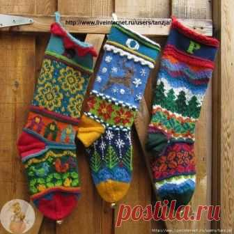 Орнамент .новогодние носки