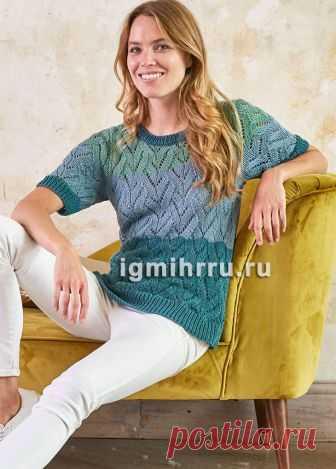 Трехцветный пуловер с короткими рукавами и ажурным узором. Вязание спицами