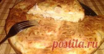 Пирог с куриной грудкой и сыром на