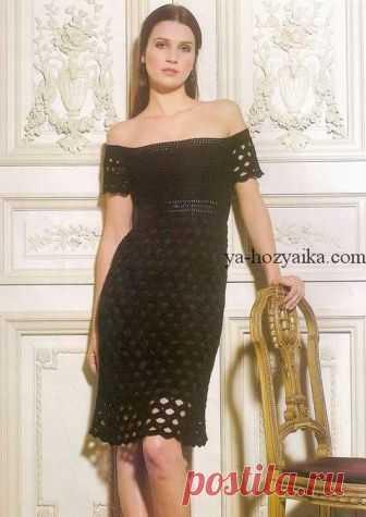 Летнее платье с открытыми плечами крючком. Вязаное платье с открытыми плечами крючком со схемами.