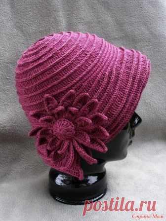 розовая шляпка с цветами эту шляпку вязали на осинке нитки