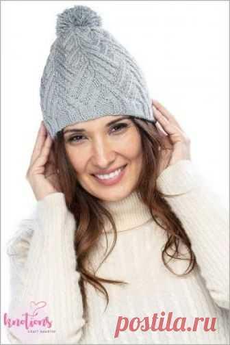 шапка анаи симпачтичная женская шапка связанная на спицах 4 мм по