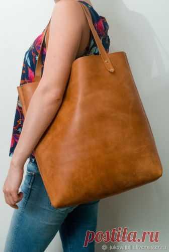 6519152831bb Шьем сумку-шоппер из натуральной толстой кожи без машинки и навыков шитья – Ярмарка  Мастеров