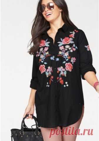 bddfd5aefaa Удлиненная блузка цвет  черный с рисунком арт  654519263 купить в Интернет  магазине Quelle за