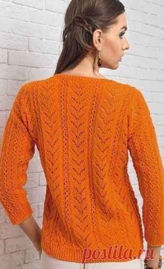 Яркий пуловер спицами