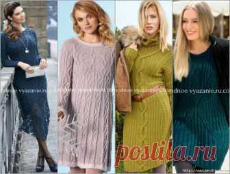 Подборка стильных платьев вязаных спицами