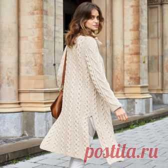 Светлое пальто с высокими разрезами - схема вязания спицами. Вяжем Пальто на Verena.ru