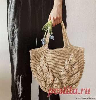 7ee4a33e65da Вязание крючком сумки рельефным узором с листьями. Схемы. / Обсуждение на  LiveInternet - Российский