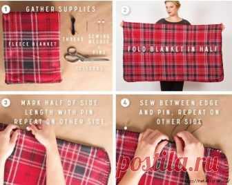 Из пледа своими руками: юбка, пончо, свитер, пальто или  жилет на выбор Из пледа плюс лёгкая курточка и жилет И даже машинка не понадобится. Для первого одеяния. Всё сделаем быстро своими руками. Подойдёт готовый плед из флиса. Но особенным мерзлячкам рекомендую шерсть. Расцветка может быть любой, но клетка, согласитесь, выглядит и тепло, и стройно, и не тривиально...