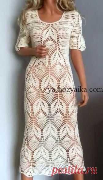 белое ажурное платье крючком схема вязания кружевного платья крючко