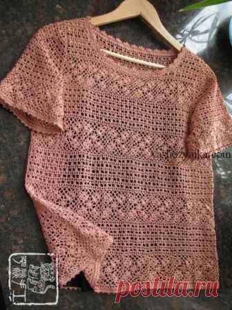 Ажурная блузка крючком схемы. Блузка со вставками из мотивов крючком Ажурная блузка крючком схемы. Блузка со вставками из цветочных мотивов крючком