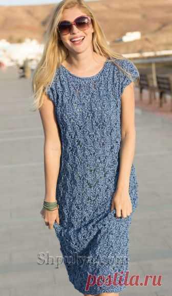 Синее платье с ажурным узором - SHPULYA.com