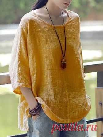 c7abb5421b90 Cotton Solid Long Sleeve Blouse Buy Tops For Women at JustFashionNow. Online  Shopping Cotton Solid