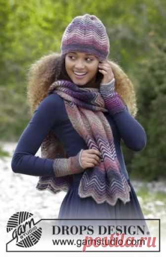 Комплект теплые волны Симпатичный комплект спицами для женщин, связанный из двух цветов пряжи секционного окрашивания. Вязание шарфа, шапки и митенок выполняется рядами по...