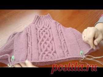 Метод непрерывного вязания спицами. Свитер с аранами. Часть 3. Кnit sweater.